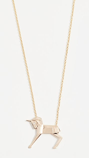 Mas Bisjoux 14K Gold Mini Unicorn Necklace