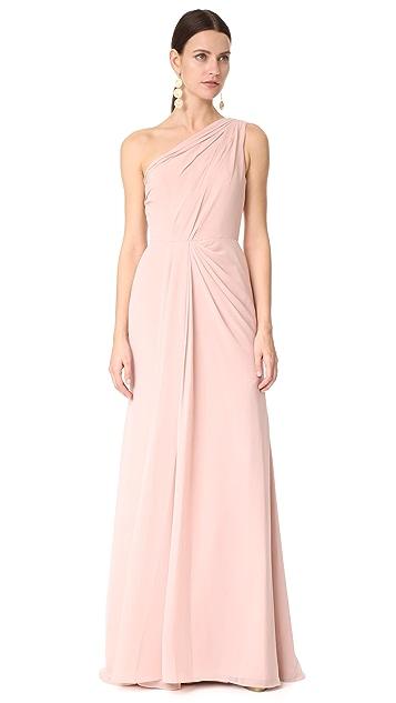 Monique Lhuillier Bridesmaids One Shoulder Drape Gown