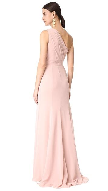 5185350eff6 ... Monique Lhuillier Bridesmaids One Shoulder Drape Gown ...