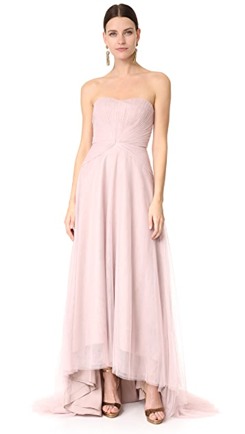 Monique Lhuillier Bridesmaids Strapless Sweetheart High Low Dress - Rose