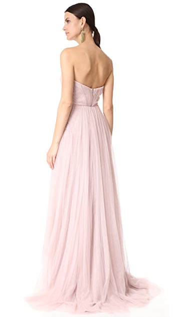 Monique Lhuillier Bridesmaids Strapless Sweetheart High Low Dress