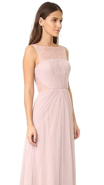 Monique Lhuillier Bridesmaids Tulle Illusions Cut Out Gown