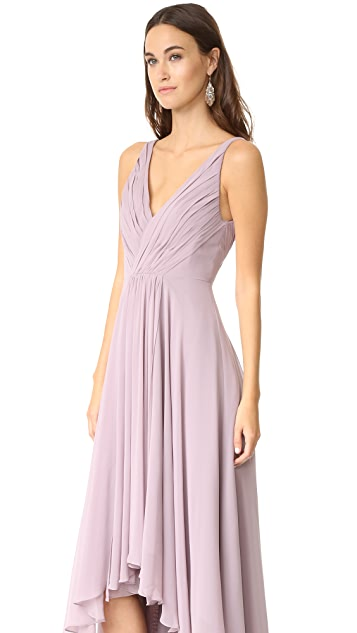 Monique Lhuillier Bridesmaids High Low Chiffon Gown