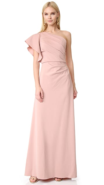 Monique Lhuillier Bridesmaids One Shoulder Gown - Shell