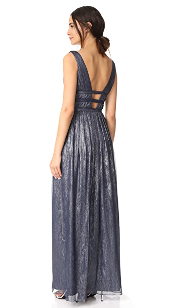 Monique Lhuillier Bridesmaids V Neck Gown
