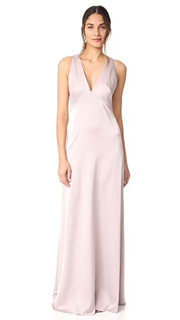 Monique Lhuillier Bridesmaids V Neck Gown - Rose