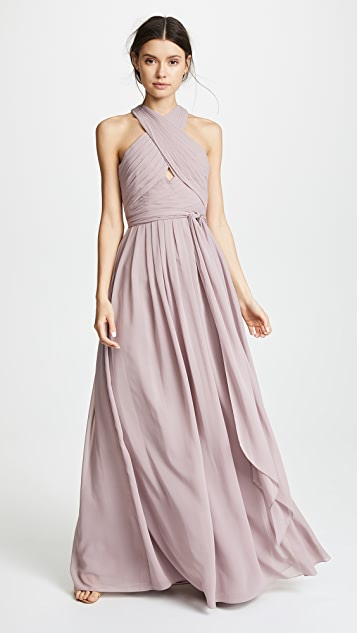 Monique Lhuillier Bridesmaids Halter Gown with Cutout - Lilac
