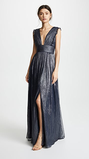 Monique Lhuillier Bridesmaids Metallic Ruffle Gown with V Neckline - Navy