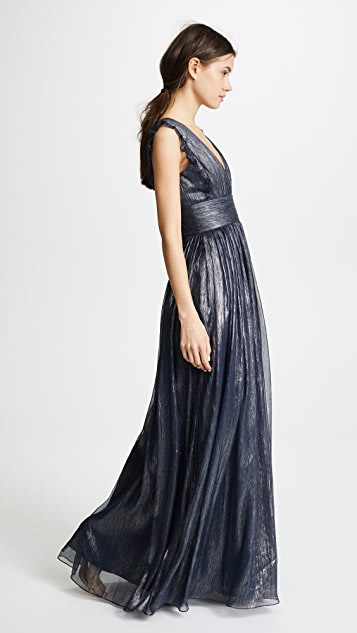 Monique Lhuillier Bridesmaids Metallic Ruffle Gown with V Neckline