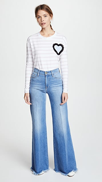 Michaela Buerger Striped Tee with Heart Patch