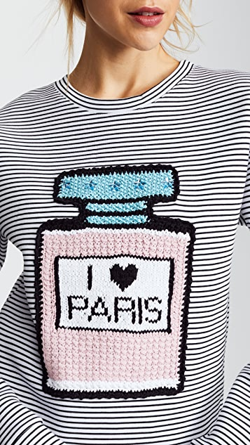 Michaela Buerger I Love Paris Perfume Bottle Striped Sweatshirt