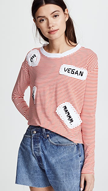 Michaela Buerger Long Sleeve Striped Tee with Patches