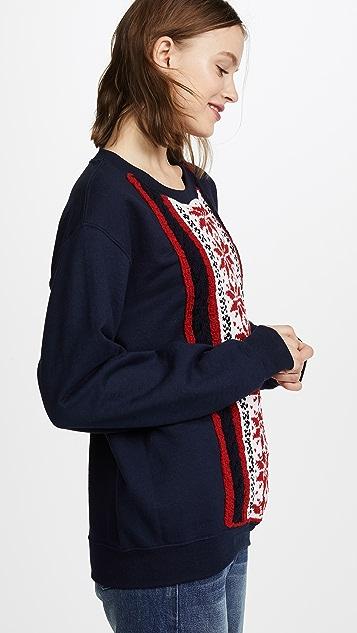 Michaela Buerger Stripe Snowflake Sweatshirt