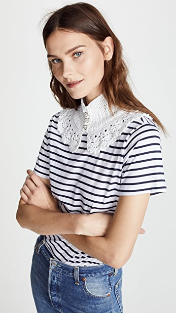 Michaela Buerger Classic T-Shirt with Crocheted Collar