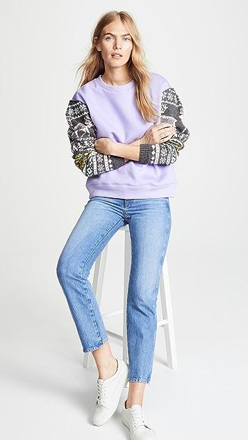 Michaela Buerger Scandanavian Jacquard Sleeve Sweatshirt