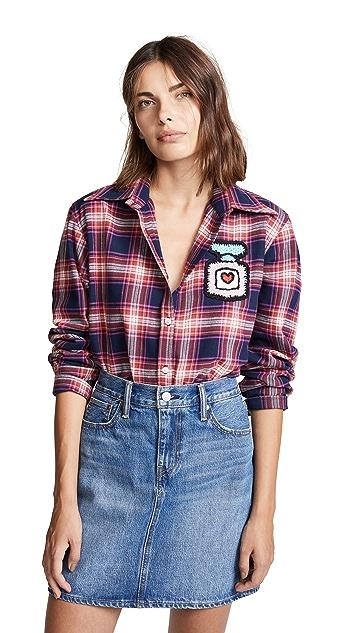 Michaela Buerger Plaid Button Down Shirt with Perfume Bottle