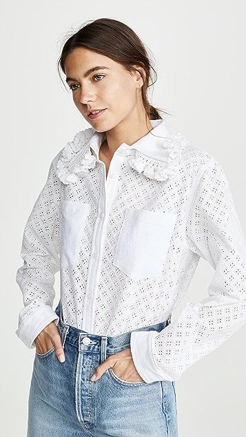 Michaela Buerger Ruffle Trim Collared Button Down Shirt