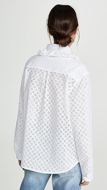 Michaela Buerger Рубашка на пуговицах с воротником и отделкой оборками