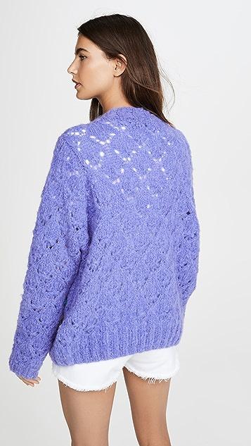 Michaela Buerger Alpaca Crochet Cropped Pearl Cardigan