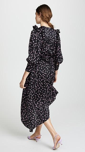 Magda Butrym Tarragona V Neck Asymmetrical Dress