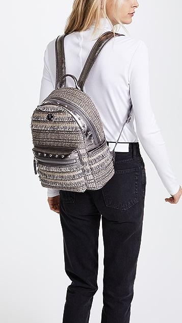 MCM Crystal Tweed Backpack