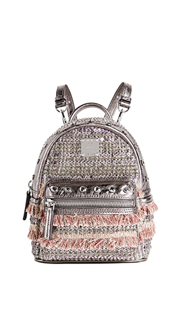 MCM Crystal Tweed Mini Backpack