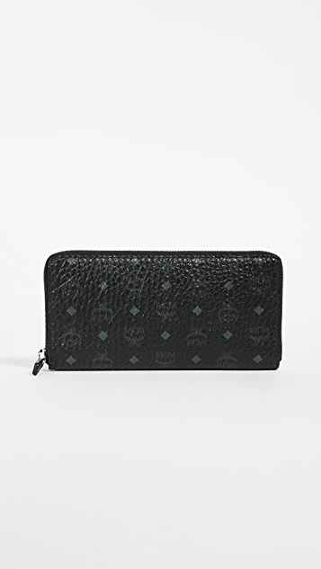 MCM Zip Around Large Wallet - Black
