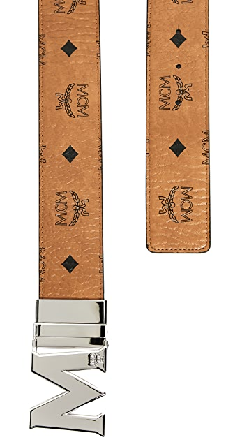 MCM Silver M Buckle Reversible Belt
