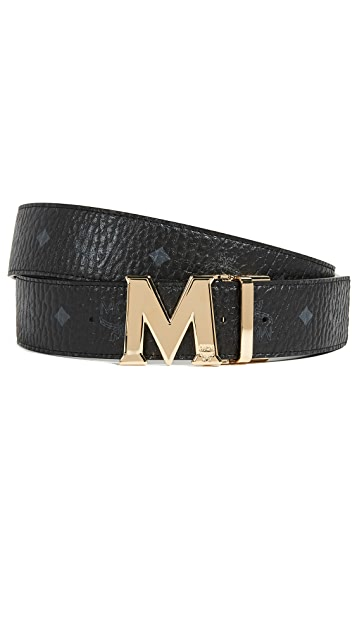MCM Двусторонний ремень с золотистой пряжкой M