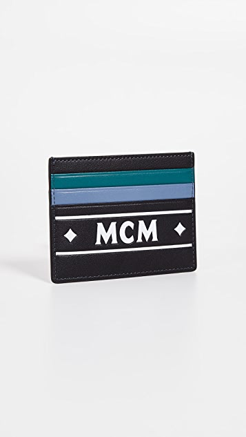 MCM Coburg Logo Stripe Mini Card Case
