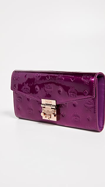 MCM Patricia Patent Two Fold Flap Wallet