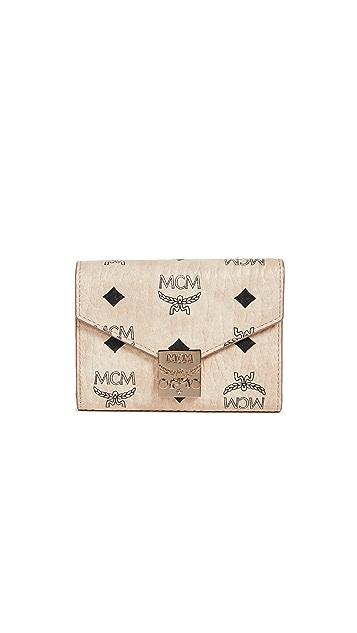MCM Patricia Visetos Tri-Fold Small Wallet
