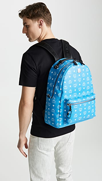 MCM Stark White Logo Visetos Backpack