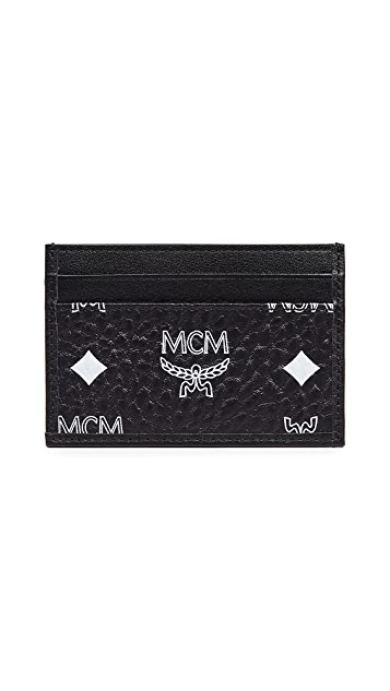 MCM White Logo Visetos Mini Card Case