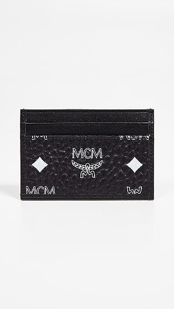 MCM White Logo Visetos Mini Card Case