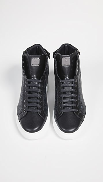 MCM Logo Visetos High Top Sneakers