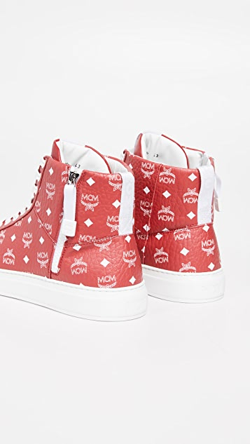 MCM White Logo Visetos High Top Sneakers