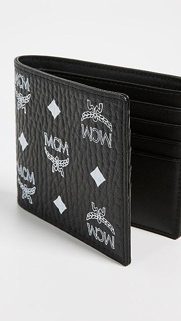 MCM White Logo Visetos Flap Two Fold Small Wallet