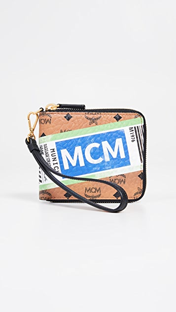 MCM Visetos Flight Print Small Zip Wallet
