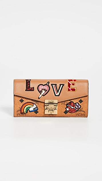 MCM Patricia Love Patch Flap Wallet On a Chain
