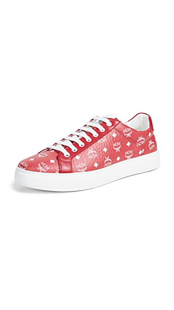 MCM White Logo Visetos Low Top Sneakers