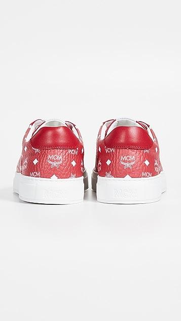 MCM White Logo Visetos Low Top Sneakers