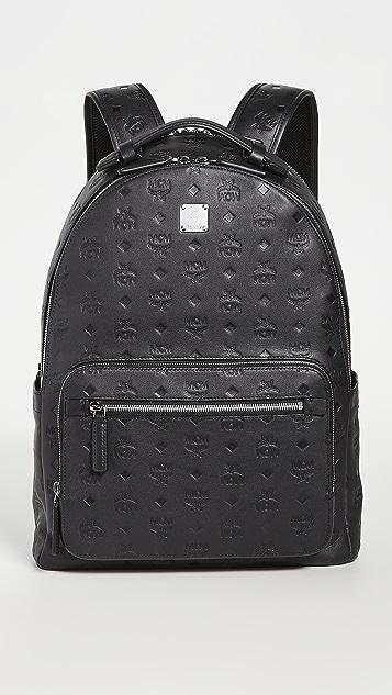 MCM Stark Mongorammed Leather Backpack 40