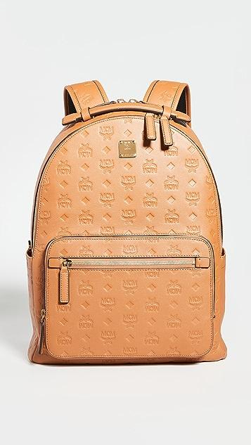 MCM Stark Monogrammed Leather Backpack