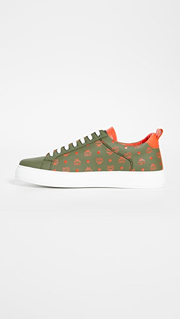MCM Lace Up Visetos Sneakers