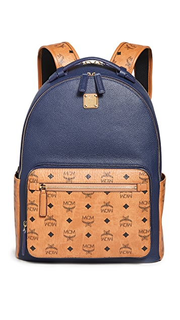 MCM Stark Visetos Leather Mix Backpack 40