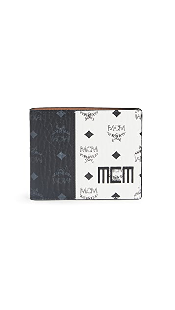 MCM Visetos Mix Flap Wallet Two-Fold Small