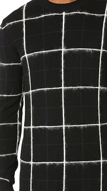 McQ - Alexander McQueen Brushed Stripe Grid Crew Sweater