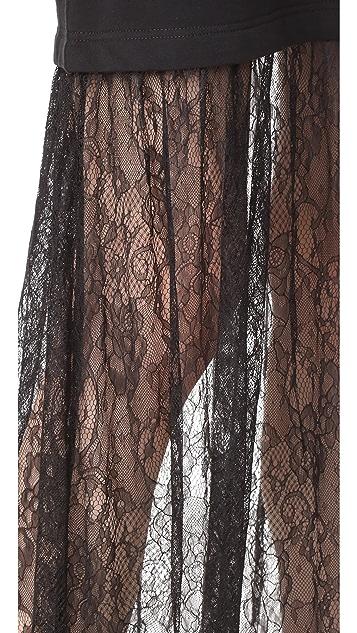 McQ - Alexander McQueen Макси-платье с кружевной отделкой
