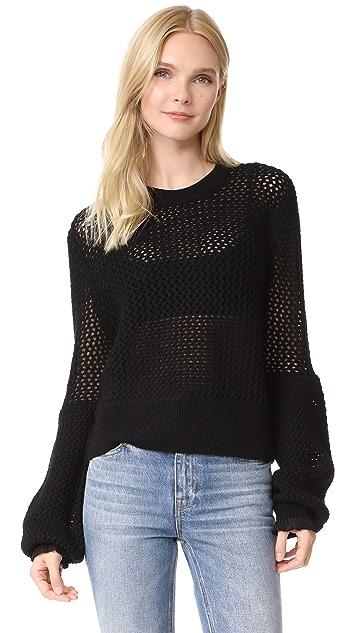 McQ - Alexander McQueen Mesh Knit Crew Neck Sweater